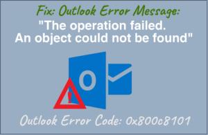 Outlook error code 0X800C8101