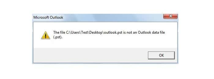 Backup.pst is not an Outlook data file (.pst)
