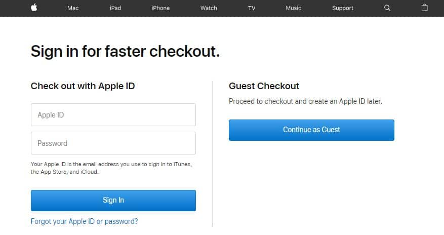 Apple using a Guest checkout option to Increase eCommerce Sales
