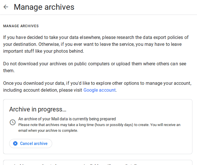 manage archives