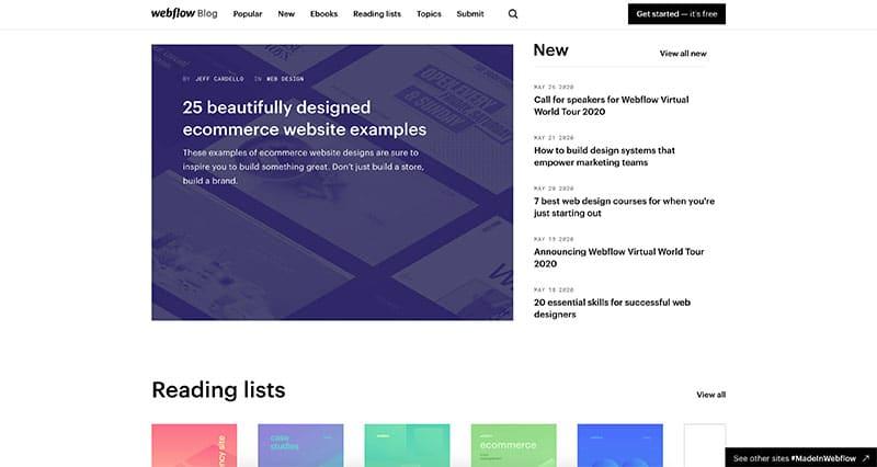 webflow blog