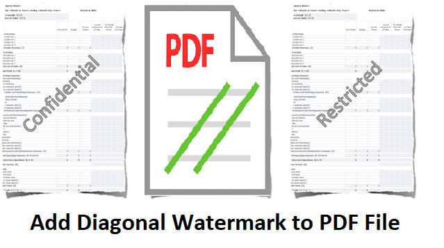 Add diagonal watermark to PDF